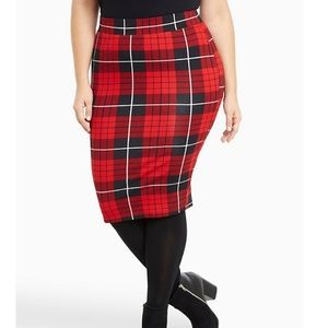 Torrid Plaid Ponte Pencil Skirt Red